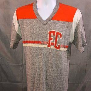 Findlay College v neck gray and orange vintage
